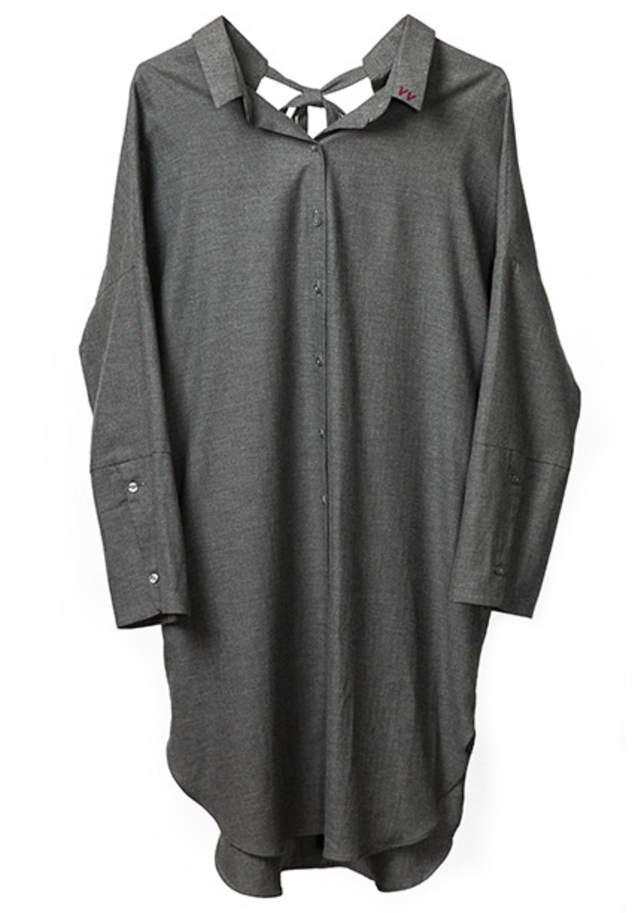 Flannel long shirt dress (gray)