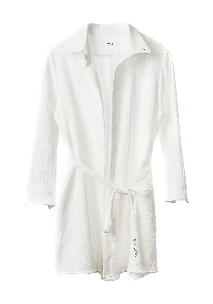 double cotton shirt dress (white)