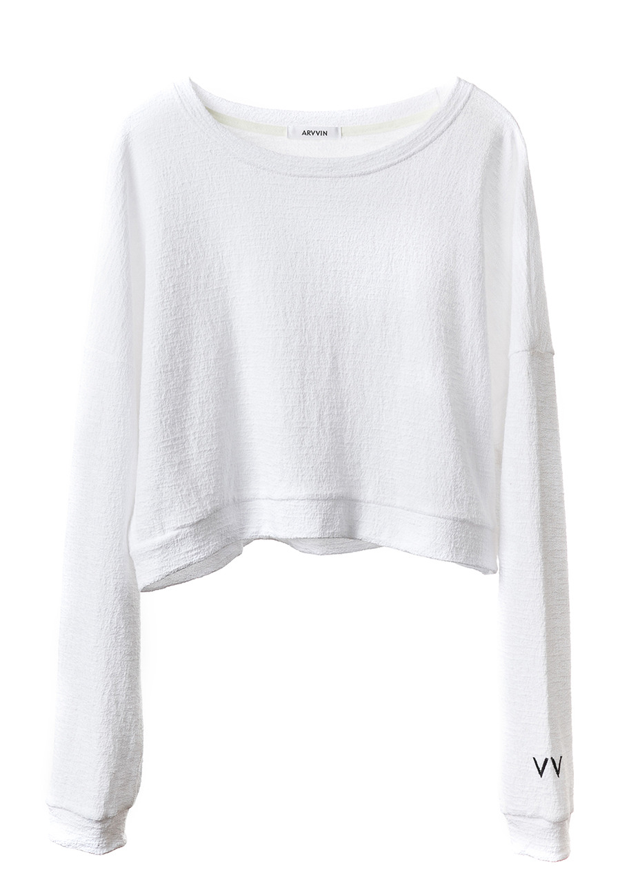 spring cropped sweatshirt (white)